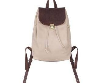 Leather backpack woman Small backpack Drawstring backpack Minimal backpack Beige brown minimalist backpack College backpack City rucksack.