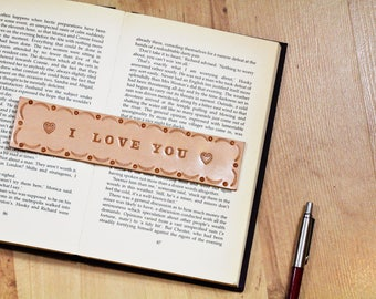 I Love You Leather Bookmark, Romantic Gift For Couples, I Love You Bookmark, Long Distance Love Leather Page Marker, Anniversary Gift, ILN90