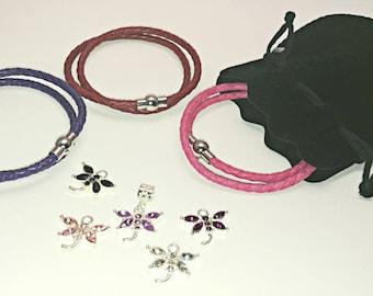 Pandora-style leather wrap charm bracelet with dragonfly charm. Double wrap braided leather.  Fits Pandora, Thomas sabo and European charms.