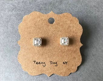 Gold CZ Square Stud Earrings - Gold plated over Sterling Silver