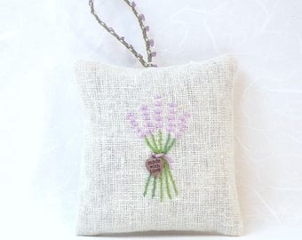 Hand-embroidered Hanging Lavender Sachet filled with home-grown lavender from Napa Valley | Sleep Aid | Air Freshener