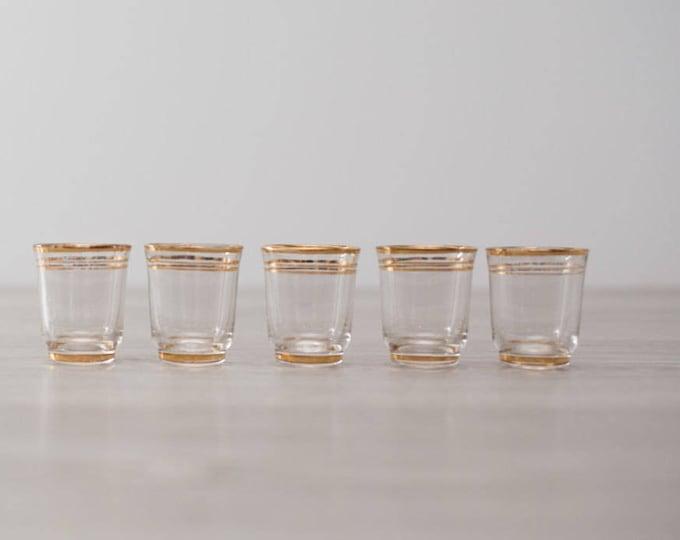 Vintage Gold Band Shot Glasses set of 6 / Mid Century Modern Stripe Design / Shotglass Barware