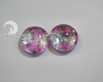 Glitter blind Eyechips Pullip and Yeolume glass - size 12 or 13mm - pink - NEW!