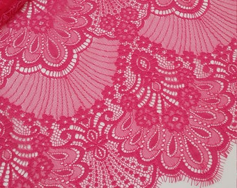 Pink lace fabric, French Lace, Chantilly Lace, Bridal lace, Wedding Lace, Scalloped lace, Floral lace, Lingerie Lace by the yard LL32904