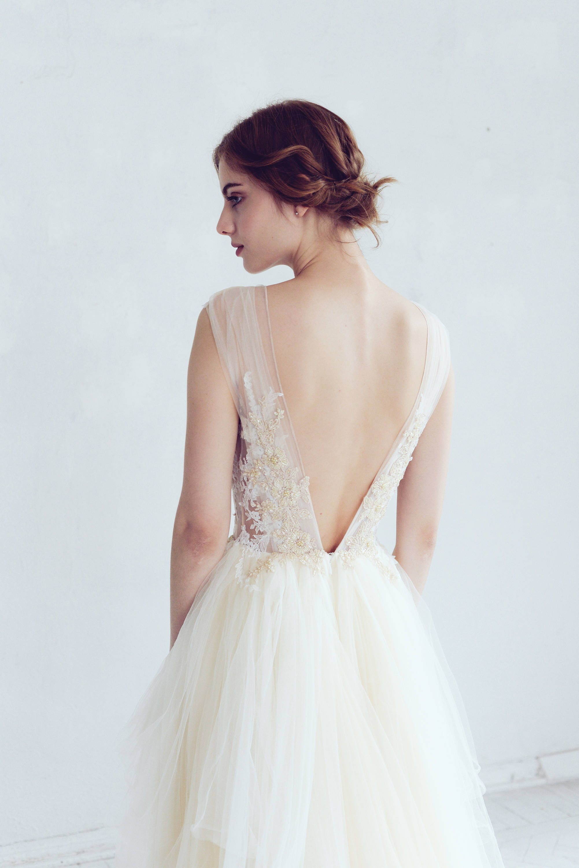 Champagne and ivory tulle wedding dress dione open back for Ivory champagne wedding dress