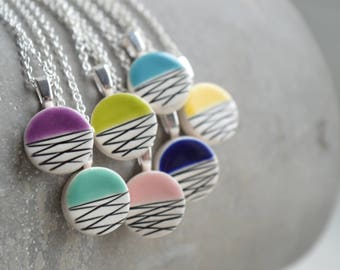 Geometric ceramic pendant necklace, colourful jewellery for summer, teenage girl gift