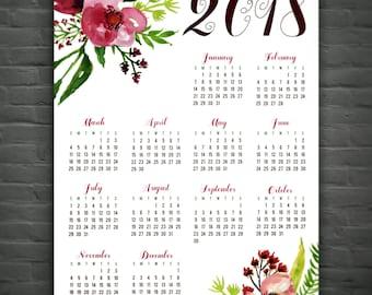 2018 Wall Calendar: Floral // Watercolor // Burgundy // Annual Calendar // At A Glance Calendar // Pretty // Office Decor