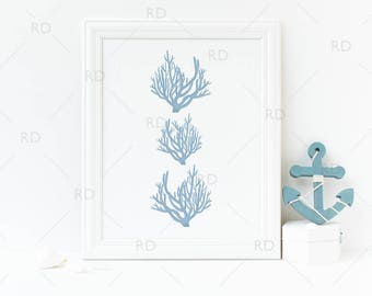 Blue Coral Nautical Art - PRINTABLE Wall Art / Nautical print / Ocean Nautical art print / Nautical Coral Wall Print / Ocean Blue Slate