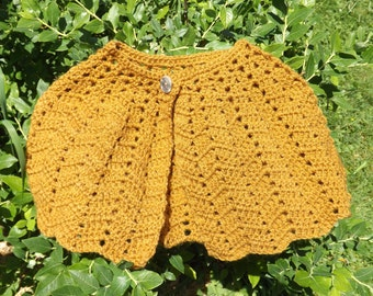 Girl's Crocheted Capelet, Honey Gold, Girl's Size X-Large 8, Soft Acrylic Shawl, Lace Crocheted Cape, Buttoned Cape, Old Fashioned Shawl