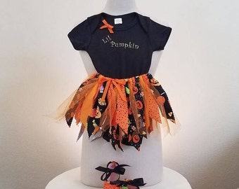 Halloween Scrappy Tutu Skirt, Onsie, Shoes Ensemble- Lil Pumpkin-Baby Girl-Size 12 months-Other sizes available- Black and Orange