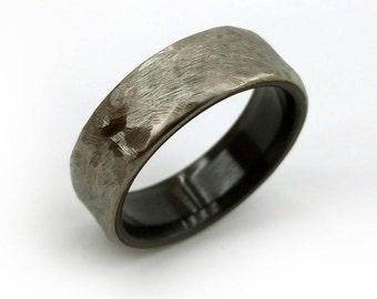 Hammered Titanium, Black Zirconium, Black Zirconium Ring, Zirconium Ring, Black Wedding Band, Two Metal Band, New Style, Modern Ring, GJG