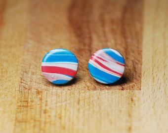 Round Stud Earrings - Hypoallergenic Stud Earrings - Studs For Sensitive Ears - Nickel Free Earrings - Polymer Clay Jewellery - Gift For Her