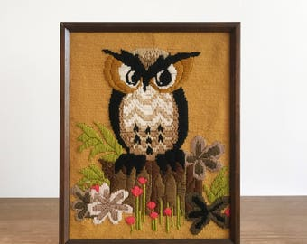 Vintage Framed Owl Wall Art - Owl Crewel Embroidery