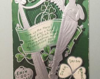 Vintage Postcard St Patrick's Day Holiday Postcard Erin Go Bragh Shamrocks Irish Memories