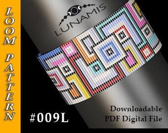 loom bracelet pattern, loom pattern, loom stitch, square stitch pattern, beading pattern, pdf file, pdf pattern, cuff, #009L