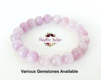 Kunzite Bracelet-7mm Grade A Genuine Kunzite-Kunzite Gemstone-Women Kunzite Bracelet-Purple Kunite Bracelet-Kunzite Bead-Natural Kunzite