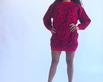 Vintage 1980s Hot Pink Zebra Sweater Dress ~ Sz Small