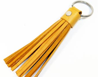 Leather Tassel Keychain. Yellow Leather Keychain. 100% Handmade key chain! Great gift!