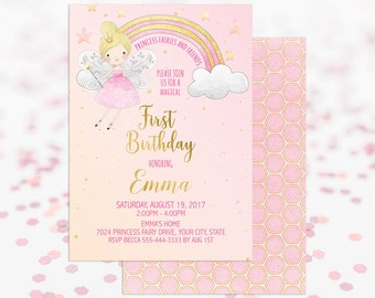 Fairy Princess Birthday Party Invitation Printable Girl's First Birthday Second Birthday Magical Birthday Invites Fairy Birthday Party 113