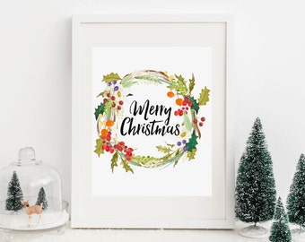 Merry Christmas Printable Christmas Quote Prints Christmas Wreath Christmas Decor Christmas Wall Art Christmas Decoration Holiday Wall Art