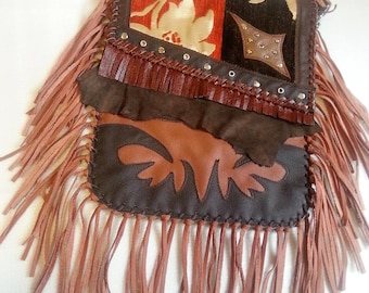 leather bag,leather sac,shoulder bag,to hang around,genuine leather,fringed bag,ethno bag,country,western,unique,handmade bag,brown,hippi
