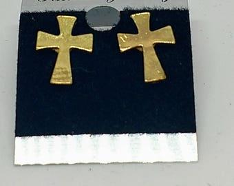 Gold Cross earrings, Cross stud earrings, pierced Cross earrings, Christian Earrings, gift, First Communion, gold tone, delicate