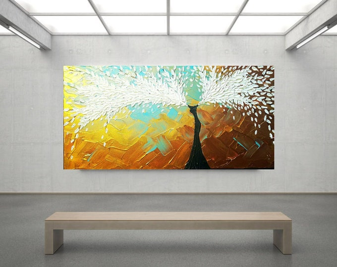 Angel Wings of Earth Impasto Acrylic White Blue Brown Large stretched Canvas