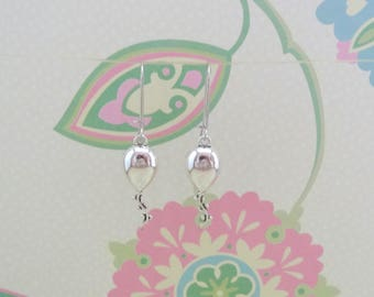 Silver Balloon Charm Earrings with Fish or Kidney Hooks - Ready to Ship