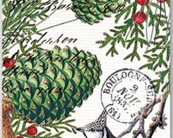 Full Package of 15 Paper Hostess Napkins for Decoupage and Paper Crafts, Spruce, Pinecones, Holiday, Christmas