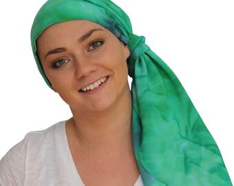 Jessica Pre-Tied Head Scarf - Women's Cancer Headwear, Chemo Scarf, Alopecia Hat, Head Wrap, Head Cover for Hair Loss - Teal Tie Dye