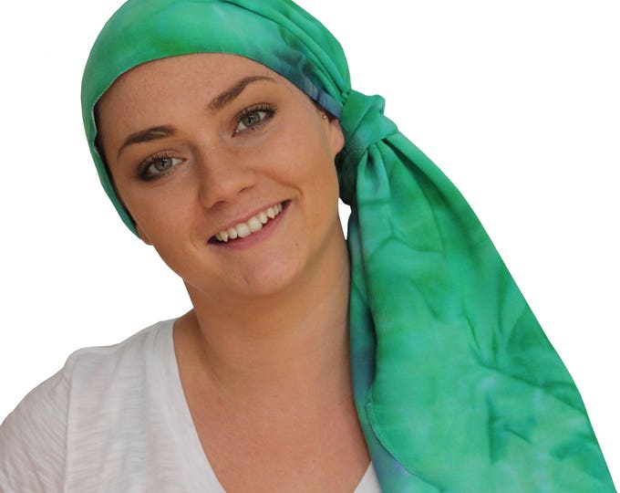 Featured listing image: Jessica Pre-Tied Head Scarf - Women's Cancer Headwear, Chemo Scarf, Alopecia Hat, Head Wrap, Head Cover for Hair Loss - Teal Tie Dye