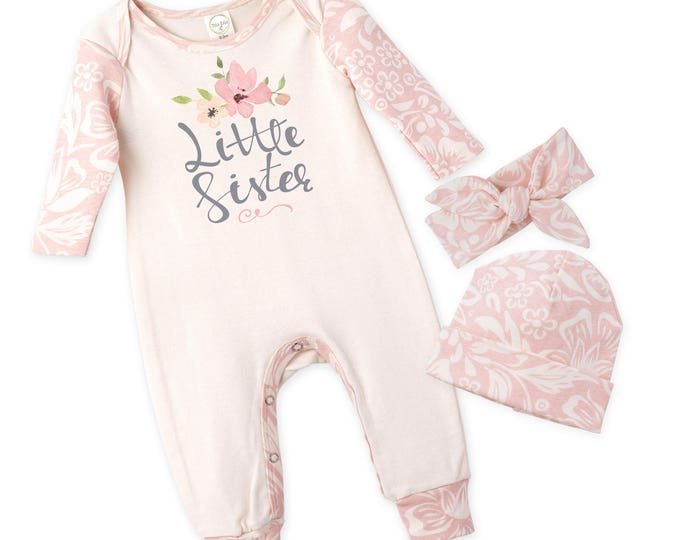 Little Sister Coming Home Outfit, Newborn Girl Outfit, Baby Girl Take Home Outfit, Baby Little Sister, Pink Floral Rompe Tesababe