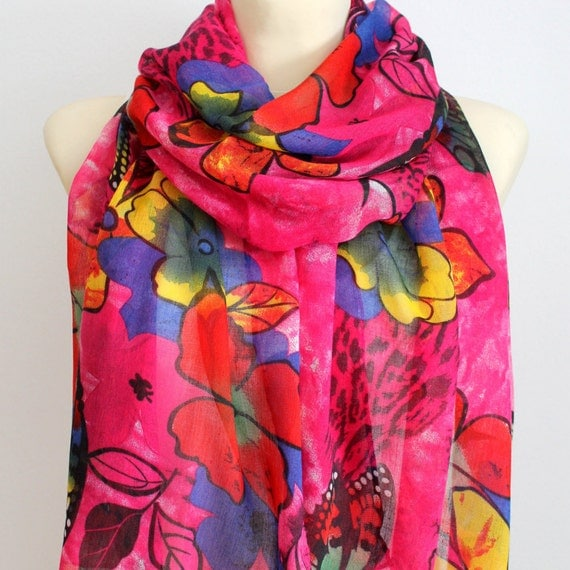 Butterfly Scarf Flower Scarves Pink Viscose Scarf Gift for Her Spring Autumn Boho Fashion Accessories Womens Scarves Gift Wife Girlfriend