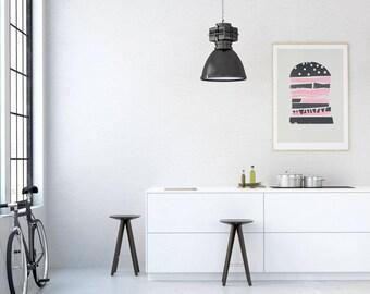 Burger Print, Mid Century Style, Unique Home Decor Ideas, Mid Century Modern Era, Bold Graphic Art, Foodie Print, Kitchen Living Room Wall