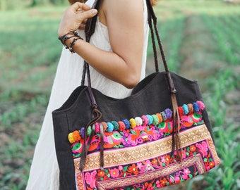 Garden Flower Women Beach Tote Bag with Hmong Tribal Embroidered, Leather Straps, Pom Pom, Brass Balls - BG518BLAG