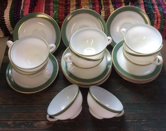 Pyrex Regency Green Cups and Saucers, 11 Cups 12 Saucers Vintage 1950's Mid Century, Pyrex Green Band Gold Trim, White Milk Glass Dinnerware