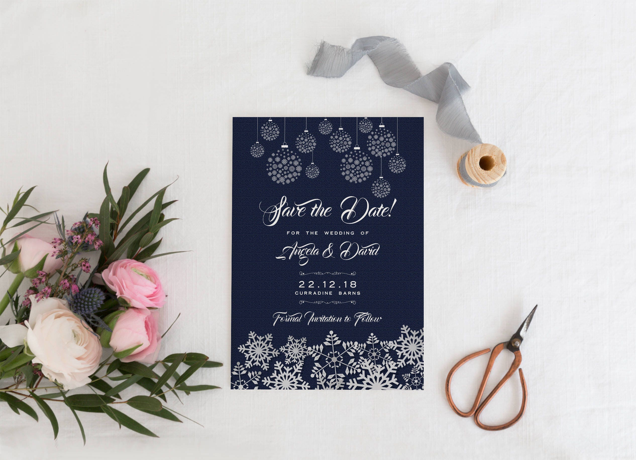 Winter Save The Date Card Christmas Save The Date Card – Winter Wedding Save the Date