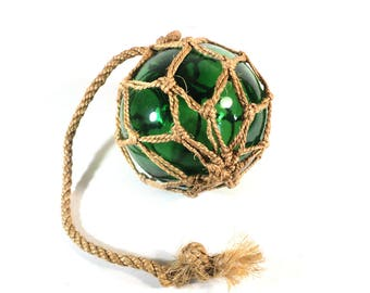 French Green Glass Fishing Float Ball with Rope Netting