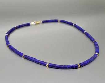 Mat Lapis Lazuli necklace with 14K gold elements - gift idea - solid gold - AAA Grade afghan Lapis - mat tubes - deep royal blue gemstone