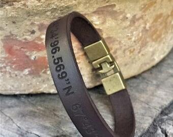 FREE SHIPPING-Latitude Longitude Men Bracelet,Coordinates Leather Bracelet,Location Leather Bangle,Custom Leather Bracelet,GPS Leather Cuff