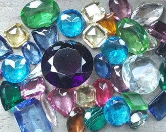 Mixed Bag of Vintage Faceted Glass Stones, 1 pound bag, variety of shapes and colors, large faceted stones, large glass stones, large lot