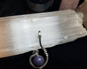 Sterling Silver & Purple Jasper Pendant ~  ~ Bohemian / BOHO ~ Handmade ~ Simple Elegance ~ Crown Chakra ~ Spiritual Connection