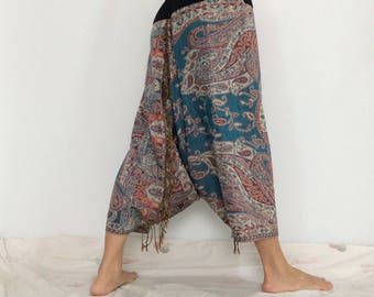 Touch Soft Silk..Blue Red Soft Silk Harem Pants with Leaf patterned (HR-595)