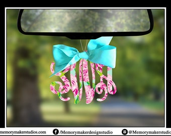 ON SALE! Rear view mirror charm, Rearview mirror Monogram, Rearview mirror accessories, Rearview mirror accessory, rearview mirror ornament