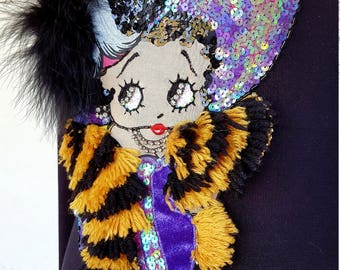 STARS ORIGINAL STUDY 80s Betty Boop knit with appliqués and hand embroidery