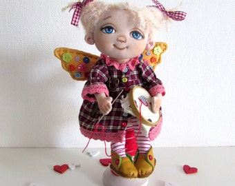 fairy, burgundy, textile doll, a gift to a woman, textile dolls, a Christmas gift, a rag doll, handmade doll, christmas gift