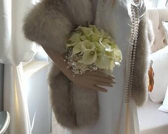 Luxury Vintage Fox Fur Stole - Fur Fling - Genuine Norwegian Blue Fox Fur Shawl - Fur Cape -  Wrap  - Scarf  - Wedding - Luxury Bridal Stole
