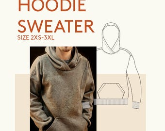 Mens PDF sewing patterns|men's digital pdf hoodie pattern|mens digital hoodie PDF pattern for sewing|sweater PDF sewing pattern tutorial