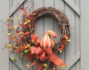 Free Shipping, Country Autumn Wreath, Fall Wreath, Farmhouse Decor, Fall Gourd, Wreaths, Front Door Wreath, Wreath for Door, Wreath for Fall