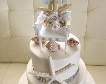 Beach Wedding Cake Topper, Starfish Cake Topper, Beach Chair Cake Topper, Adirondack Chair Cake Topper, Seashell Cake Topper, Bridal Shower